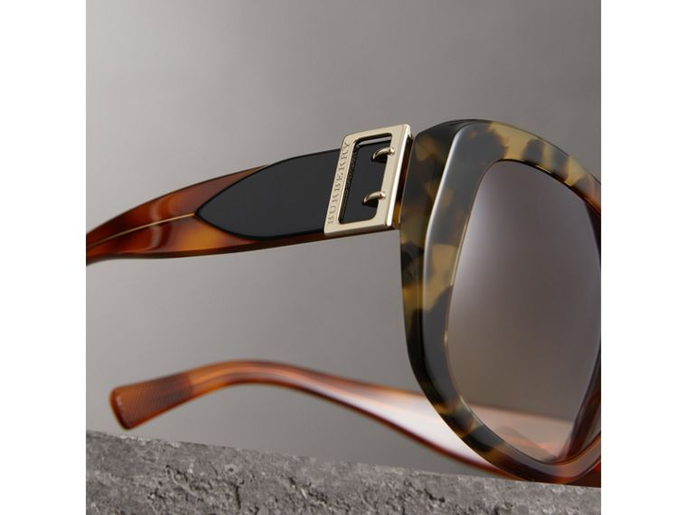 Buckle Detail Oversize Square Frame Sunglasses in Dark Ochre - Women | Burberry - cell image 1
