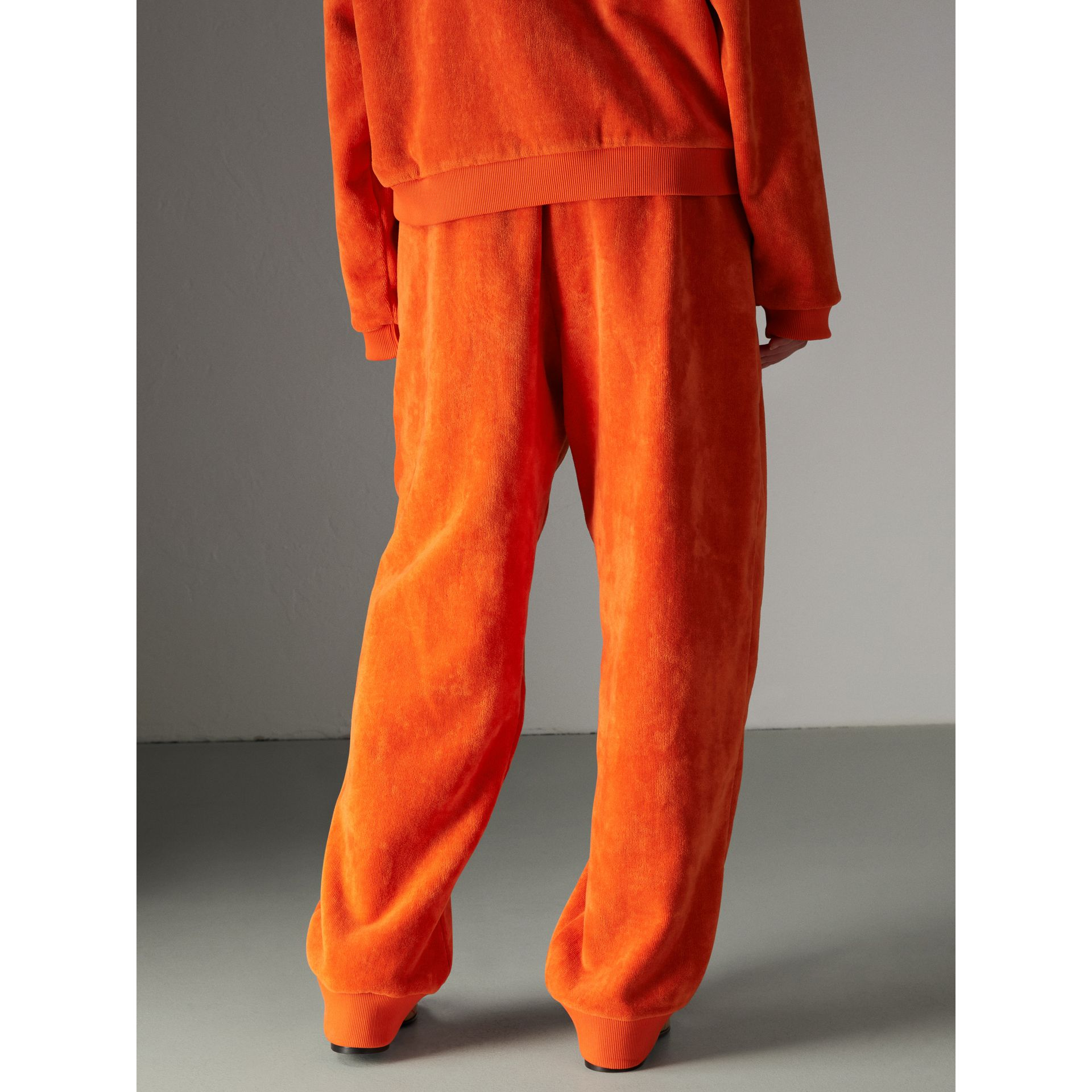 Archive Logo Towelling Sweatpants in Tangerine - Women | Burberry Australia - gallery image 2