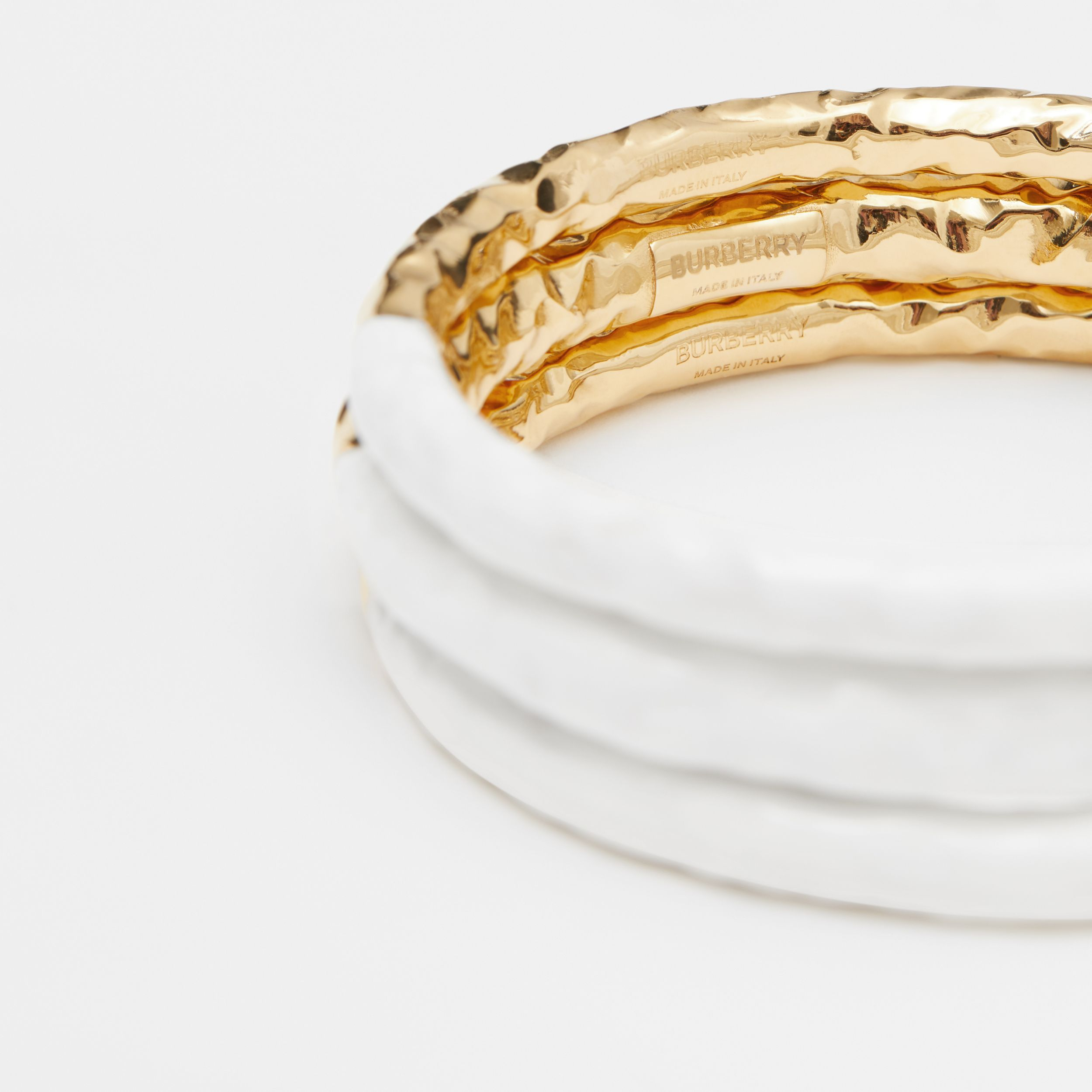 Enamel and Gold-plated Bangle in Light Gold/white - Women | Burberry Australia - 2