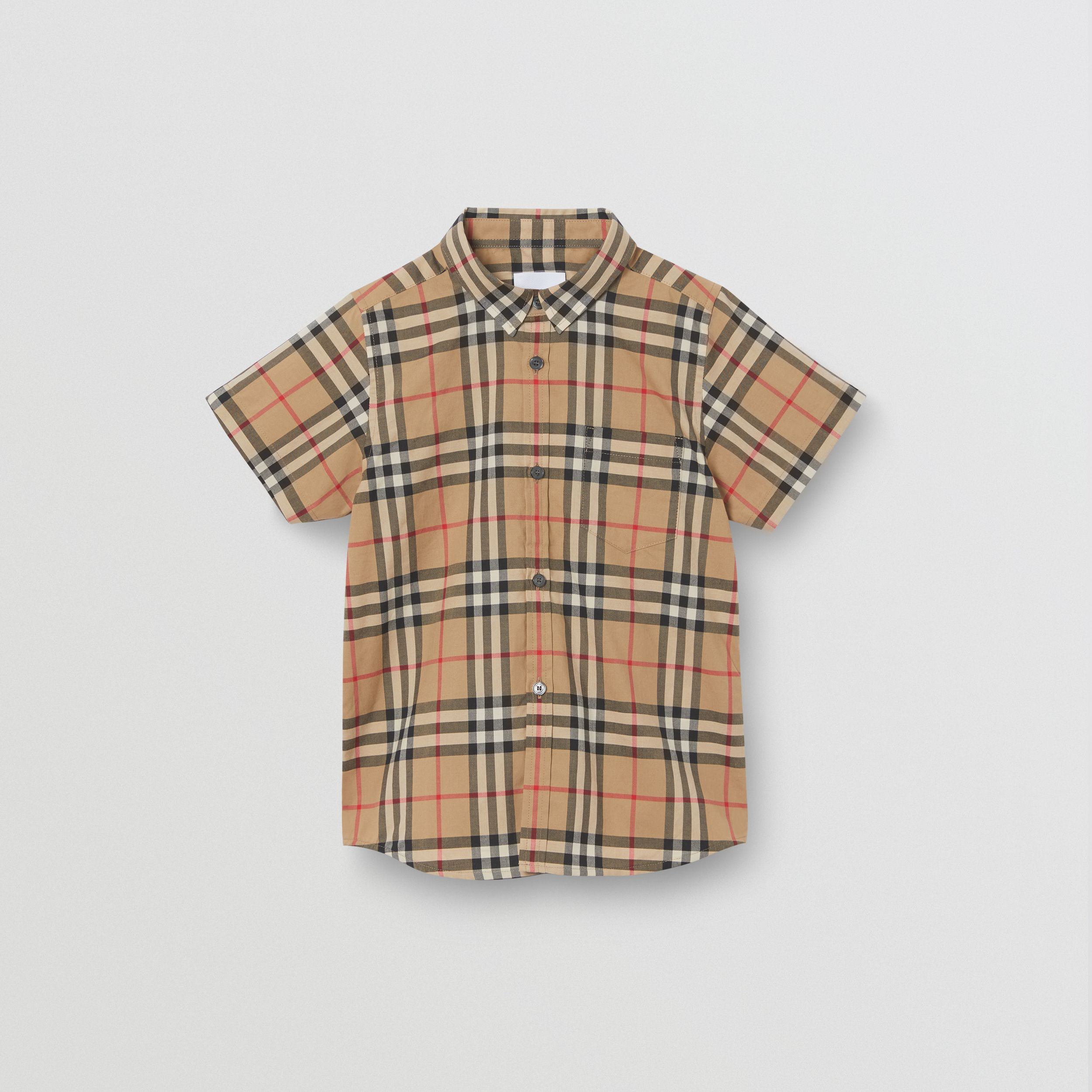 Short-sleeve Vintage Check Cotton Shirt in Archive Beige | Burberry Australia - 1