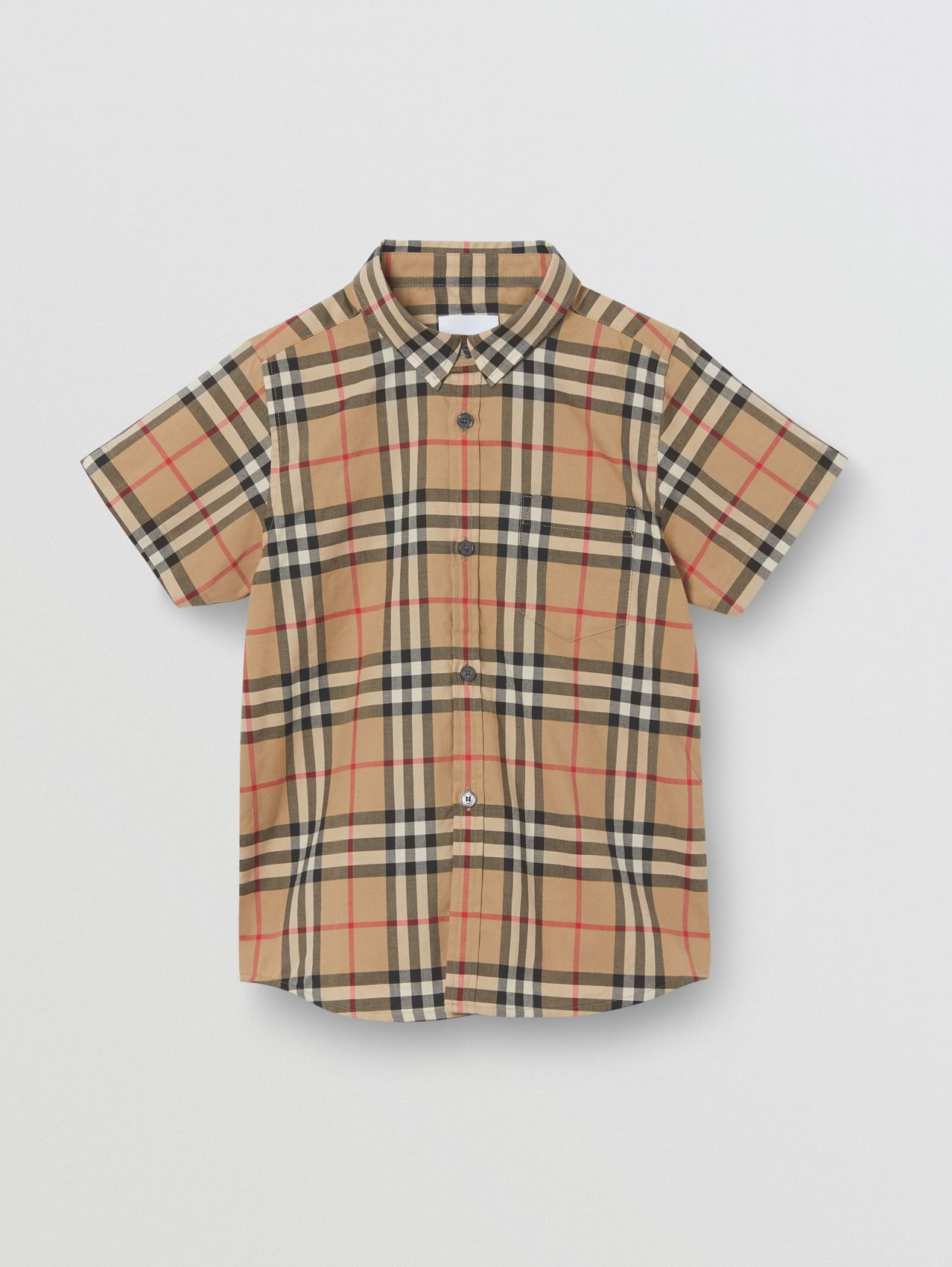Short-sleeve Vintage Check Cotton Shirt (Archive Beige)