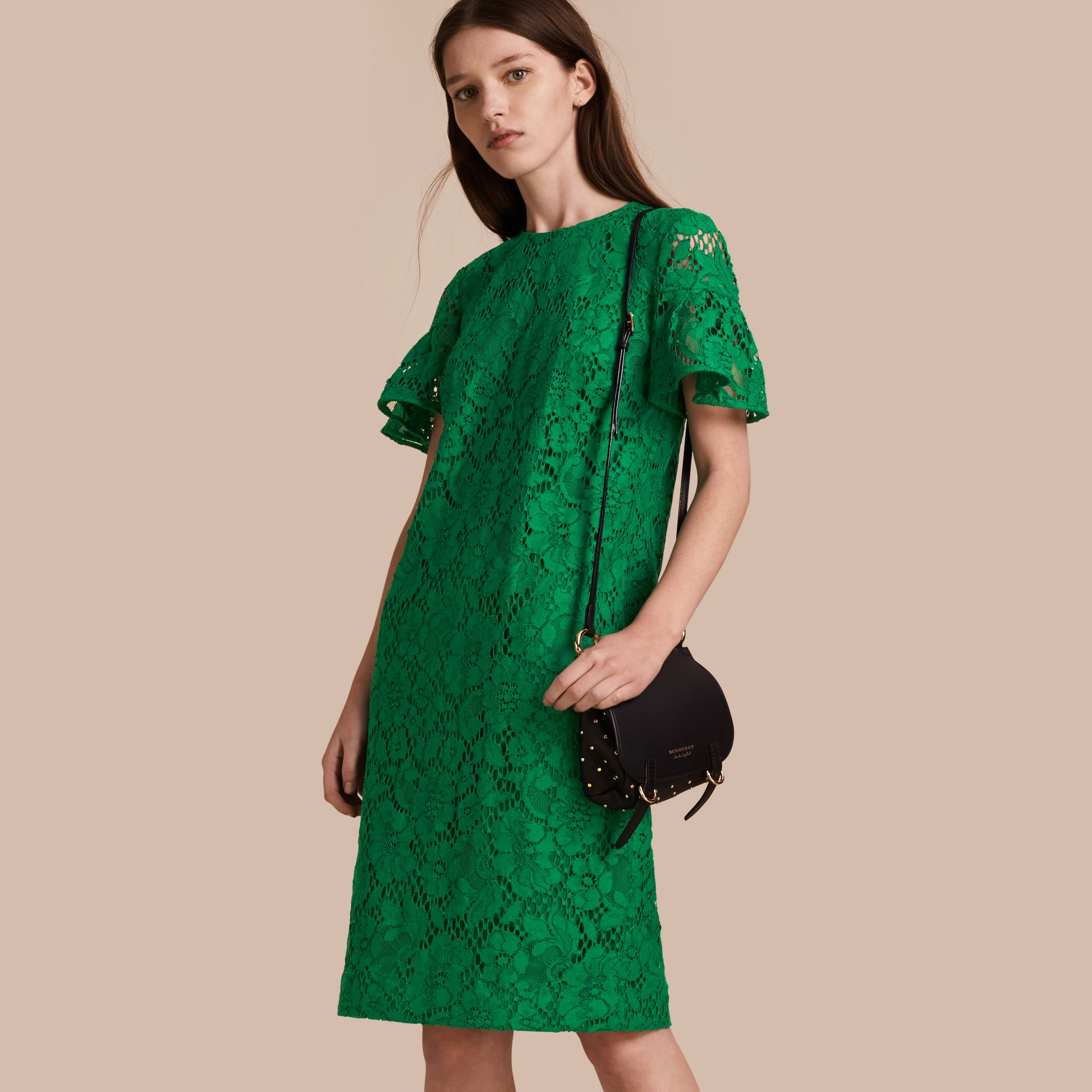 Macramé Lace Shift Dress with Ruffle Sleeves Kelly Green - gallery image 1