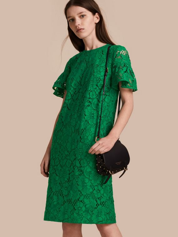 Macramé Lace Shift Dress with Ruffle Sleeves Kelly Green