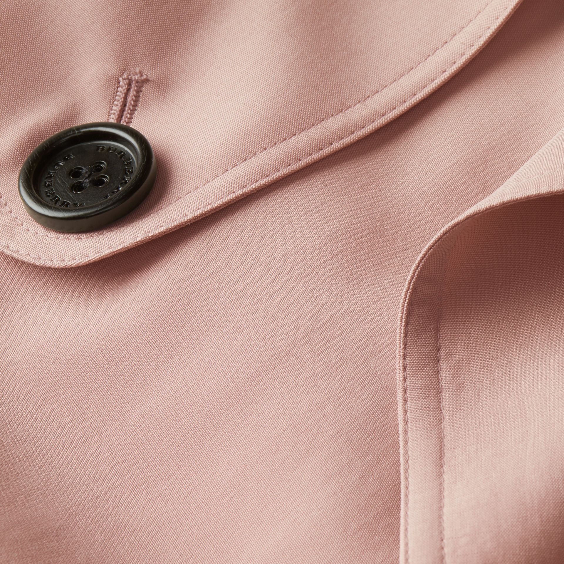 Chalk pink Lightweight Slub Silk Wrap Trench Coat - gallery image 2