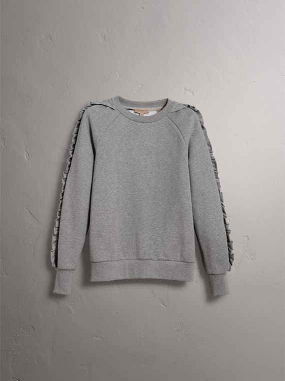 Ruffle-sleeve Sweatshirt in Pale Grey Melange - Women | Burberry - cell image 3