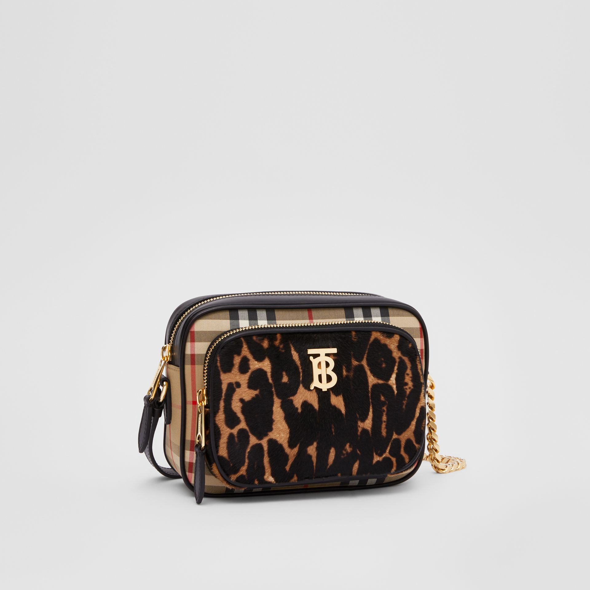 Vintage Check and Leopard Print Calf Hair Camera Bag in Black | Burberry - gallery image 6