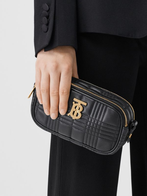 Mini Quilted Lambskin Camera Bag in Black   Burberry United Kingdom - cell image 2