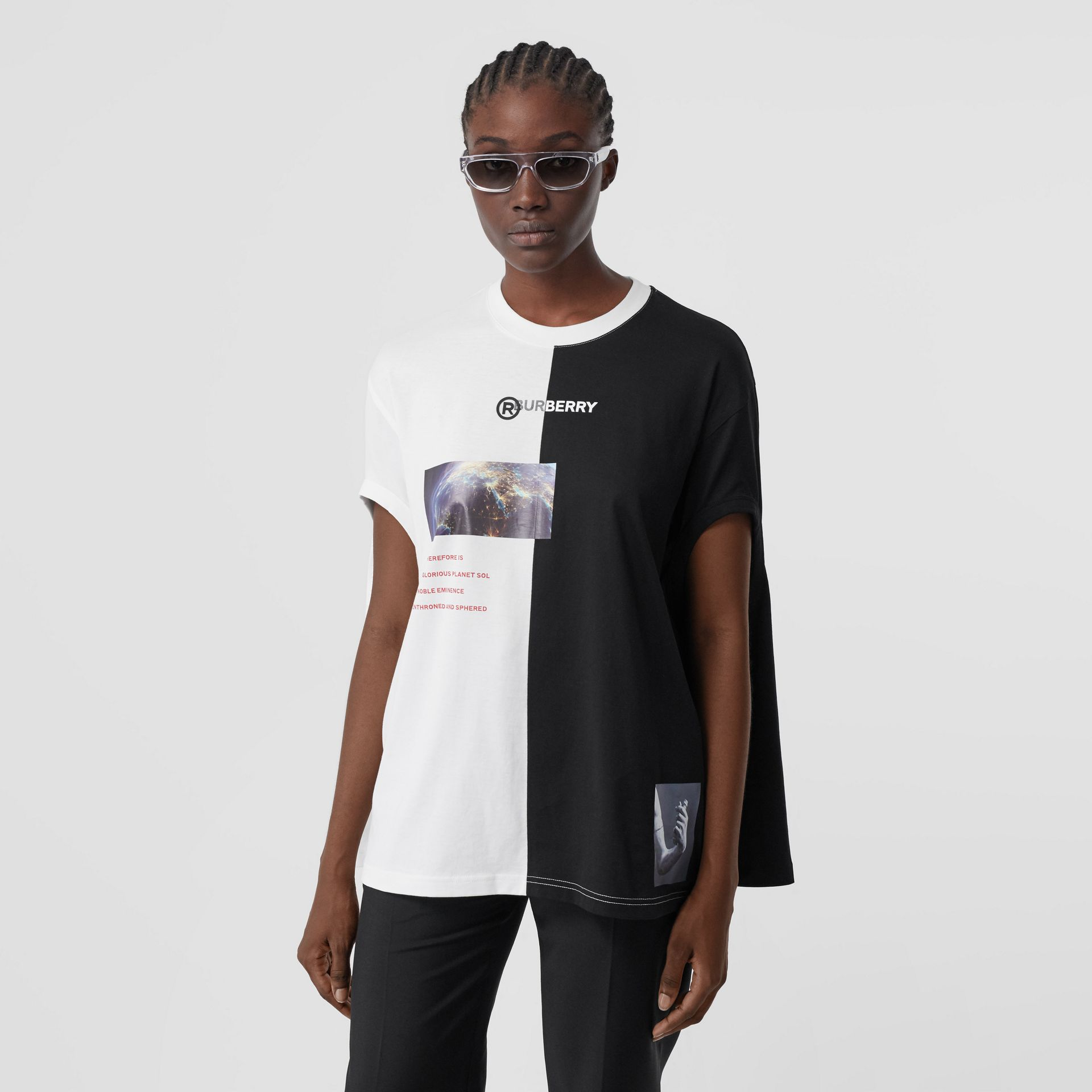 Cut-out Sleeve Montage Print Cotton Oversized Top in Black - Women | Burberry United Kingdom - gallery image 6