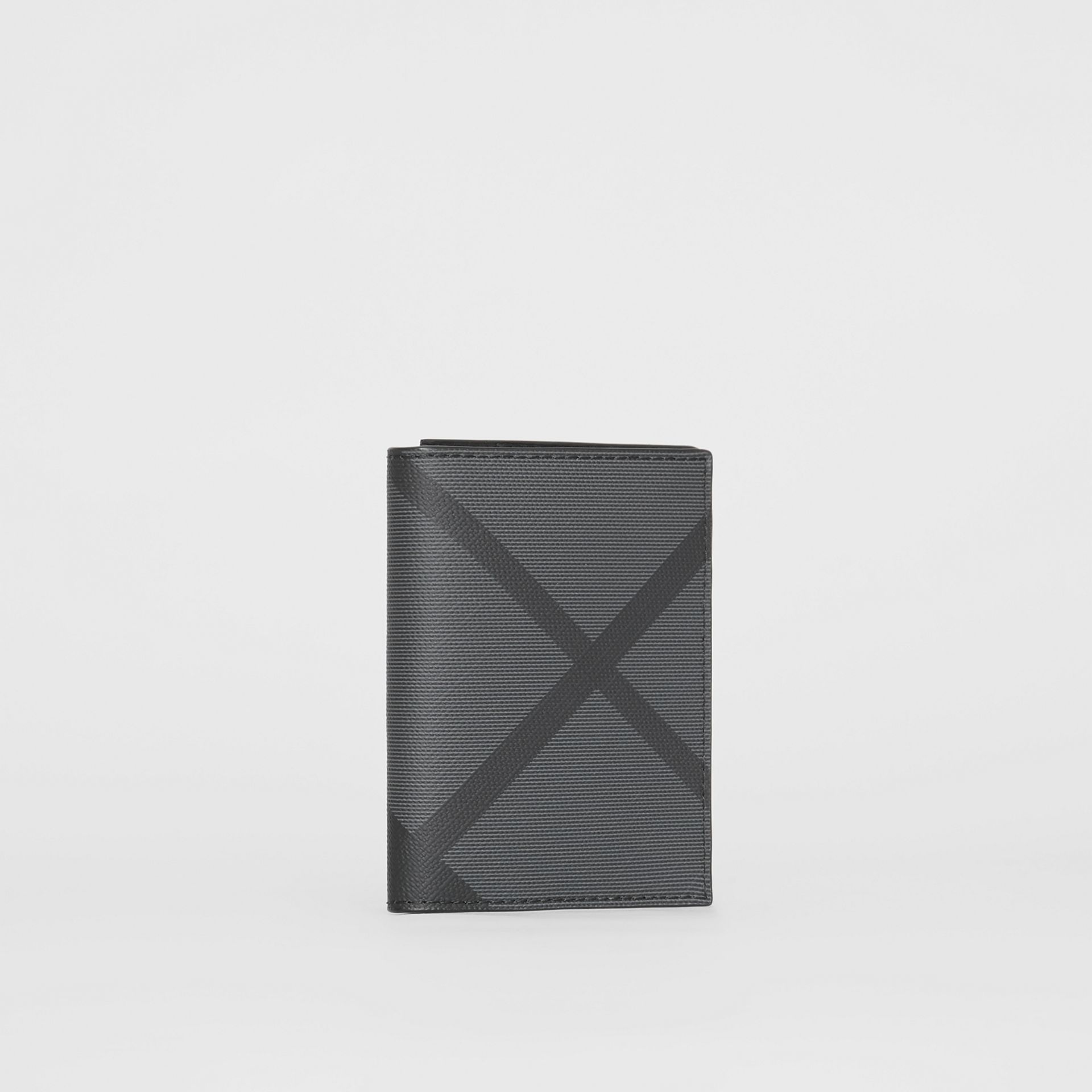 London Check and Leather Folding Card Case in Charcoal/black - Men | Burberry Hong Kong - gallery image 3