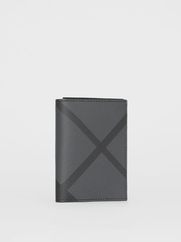 London Check and Leather Folding Card Case in Charcoal/black - Men | Burberry Singapore - cell image 3