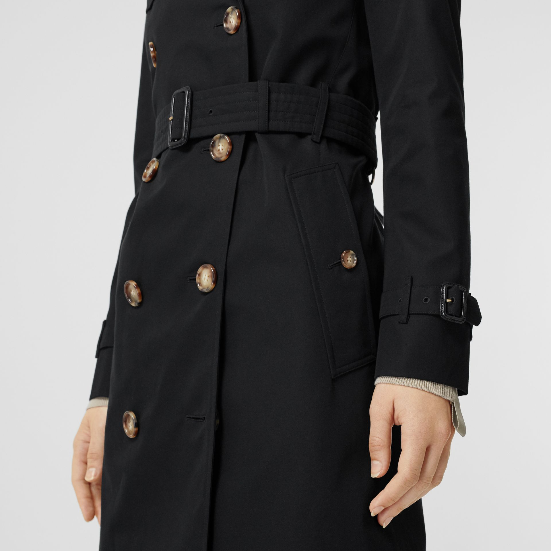 Cotton Gabardine Trench Coat in Black - Women | Burberry - gallery image 5