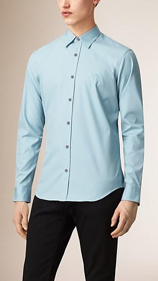Check Detail Stretch Cotton Shirt