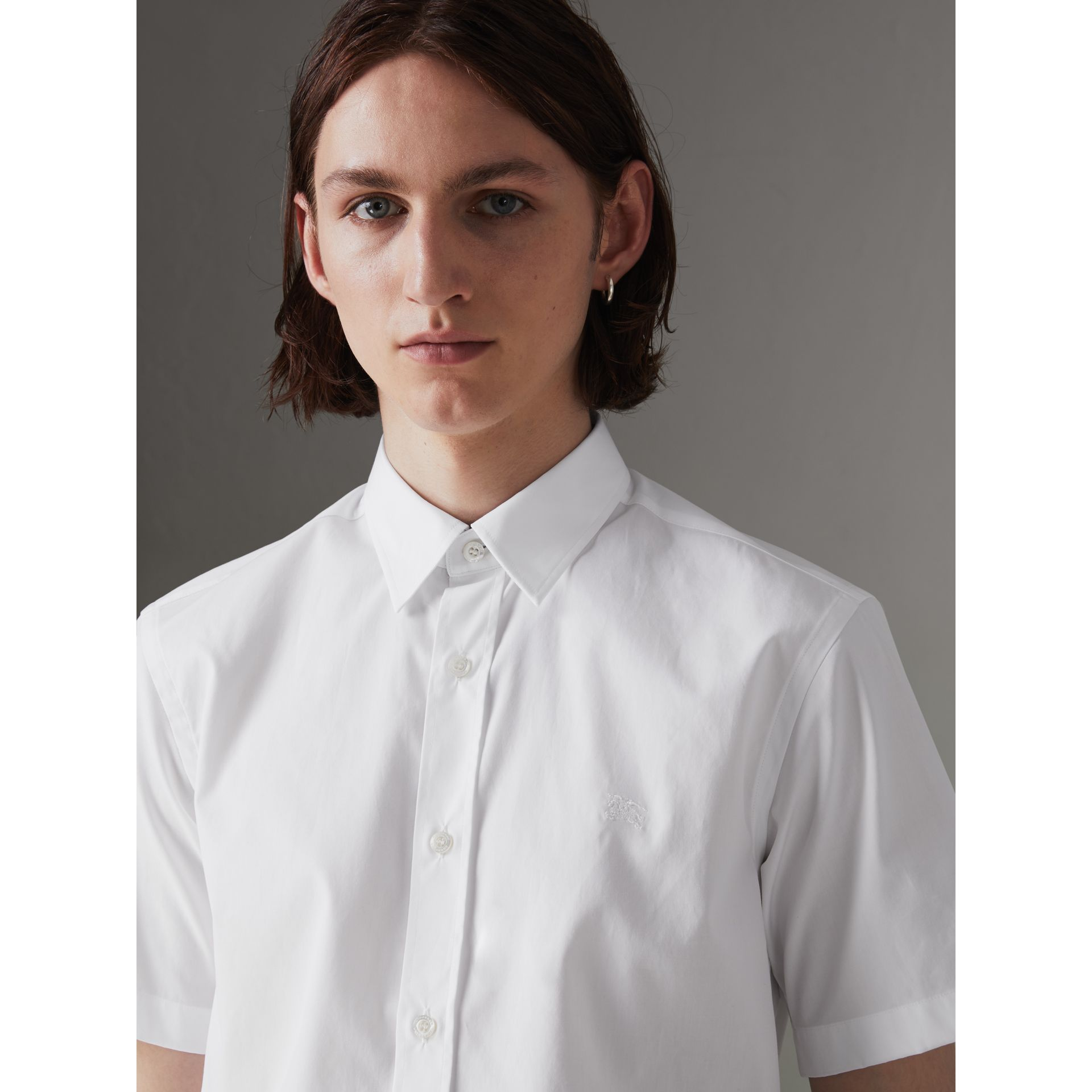 Short-sleeve Stretch Cotton Shirt in White - Men | Burberry Hong Kong - gallery image 1