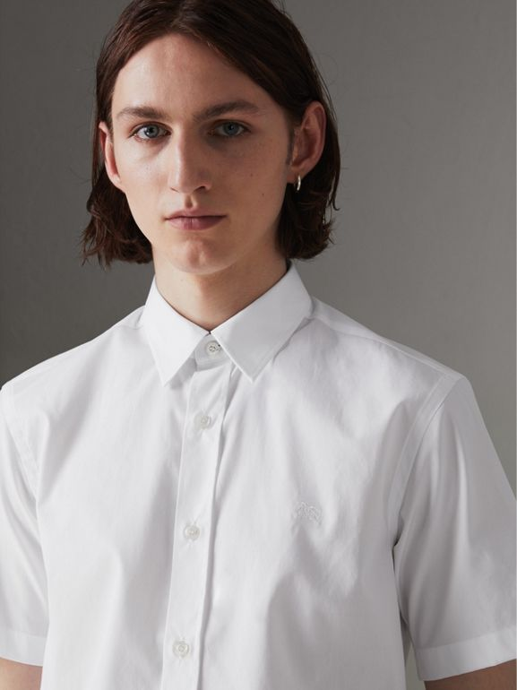Short-sleeve Stretch Cotton Shirt in White - Men | Burberry - cell image 1