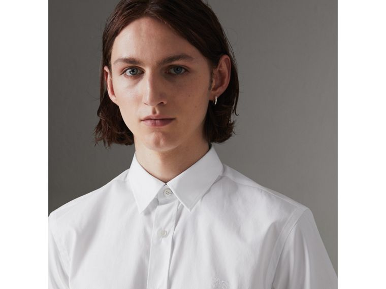 Short-sleeve Stretch Cotton Shirt in White - Men | Burberry Hong Kong - cell image 1