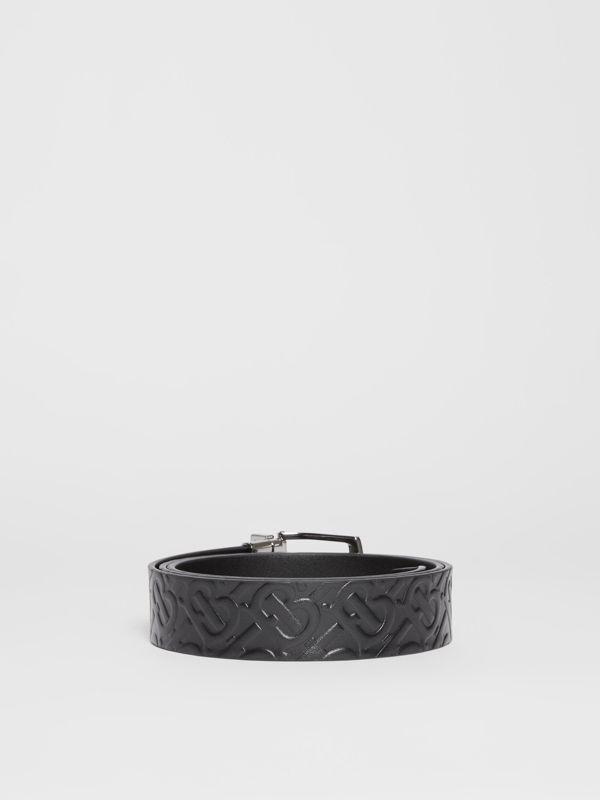 Reversible Monogram Leather Belt in Black - Men | Burberry Hong Kong S.A.R - cell image 3