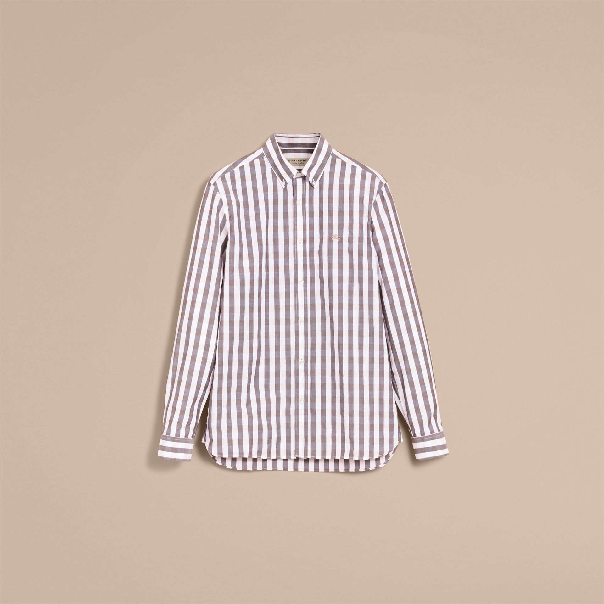 Button-down Collar Gingham Cotton Shirt in Chalk Pink - Men | Burberry - gallery image 3