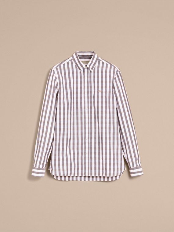 Button-down Collar Gingham Cotton Shirt in Chalk Pink - Men | Burberry - cell image 3