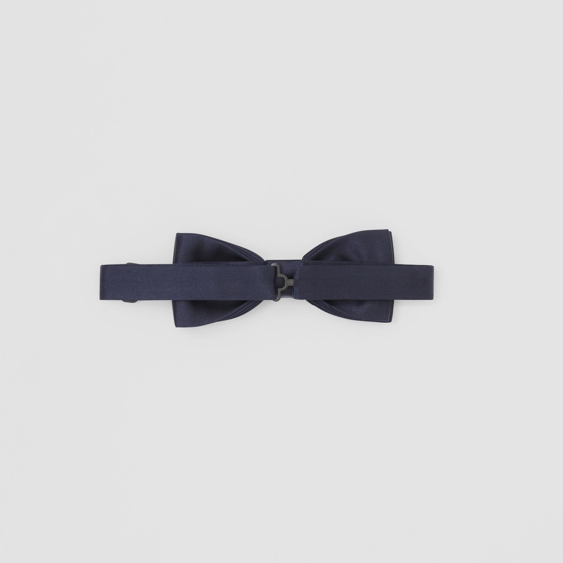 Silk Satin Bow Tie in Navy - Men | Burberry Canada - gallery image 4