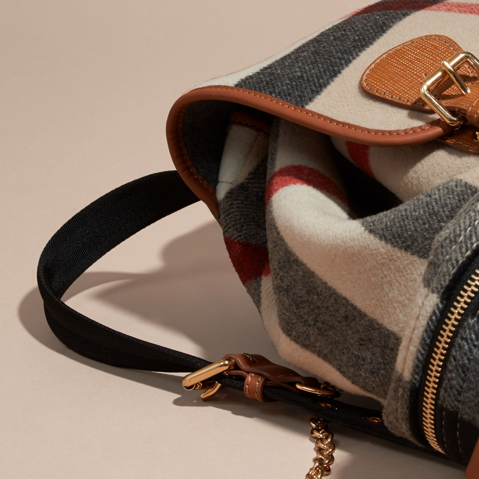 Check/grey The Large Rucksack in Check Wool Blend and Leather - gallery image 5
