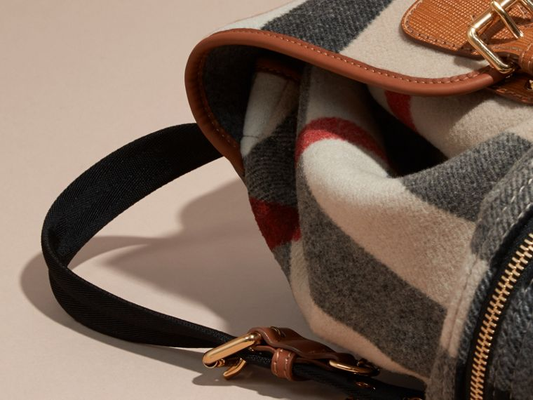 Check/grey The Large Rucksack in Check Wool Blend and Leather - cell image 4