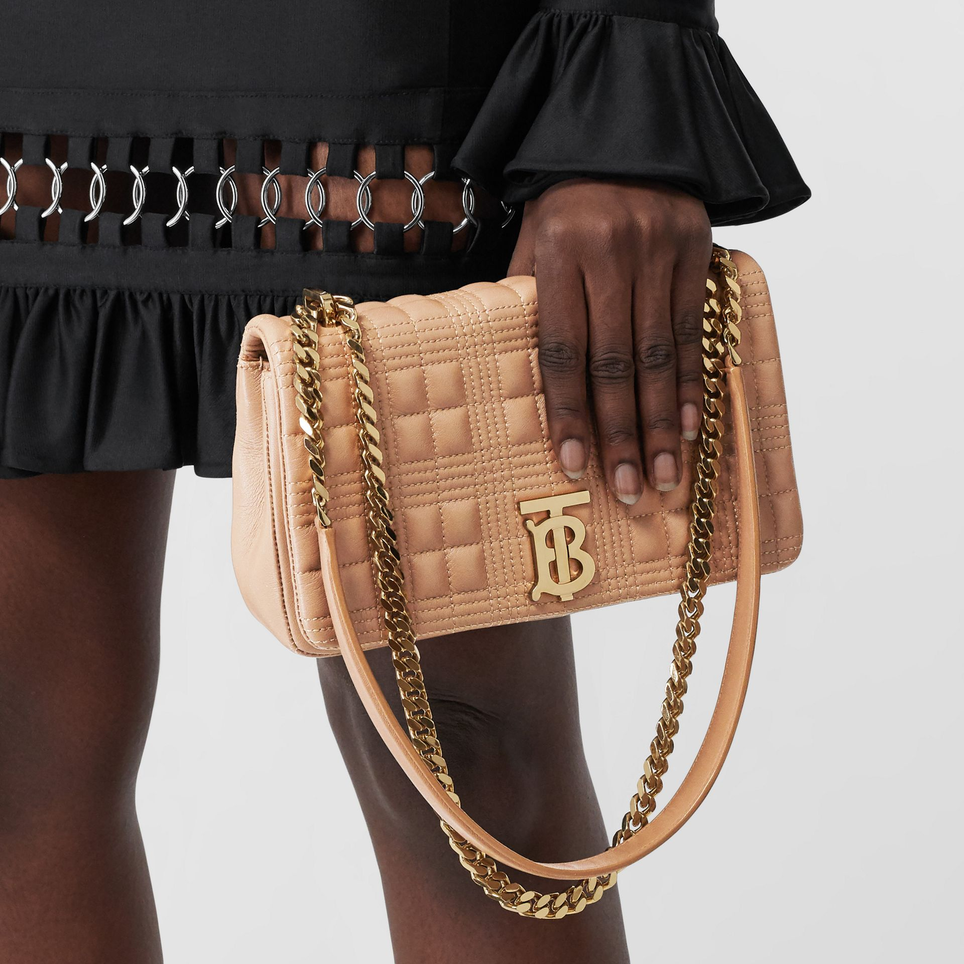 Small Quilted Lambskin Lola Bag in Camel/light Gold   Burberry - gallery image 2