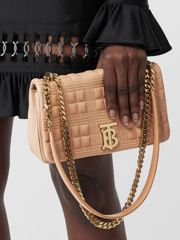Small Quilted Lambskin Lola Bag in Camel/light Gold   Burberry - cell image 2