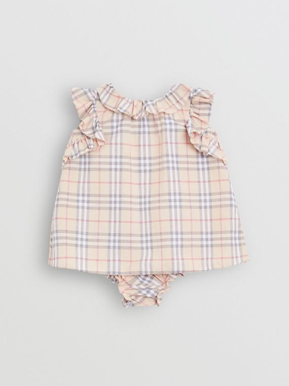 Ruffle Detail Check Cotton Dress with Bloomers in Pale Stone