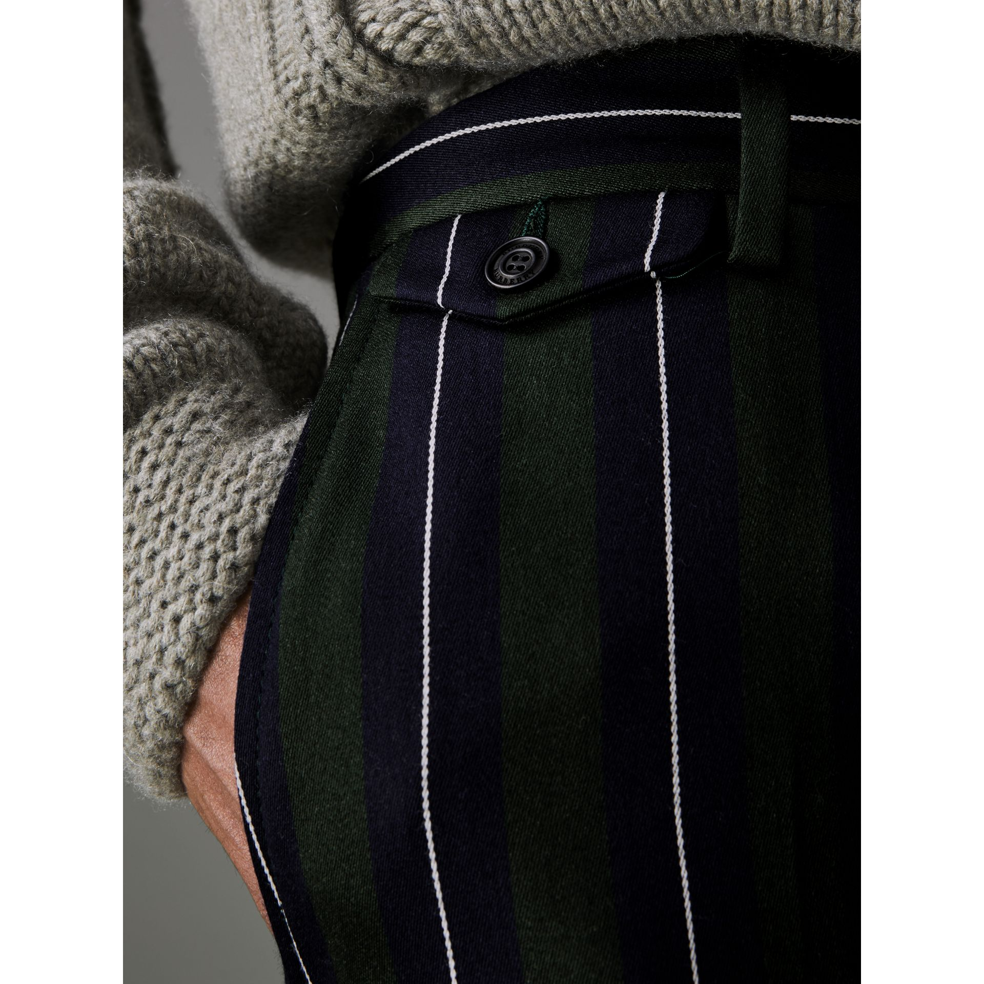 Striped Wool Cotton Tailored Trousers in Dark Forest Green - Men | Burberry Australia - gallery image 1