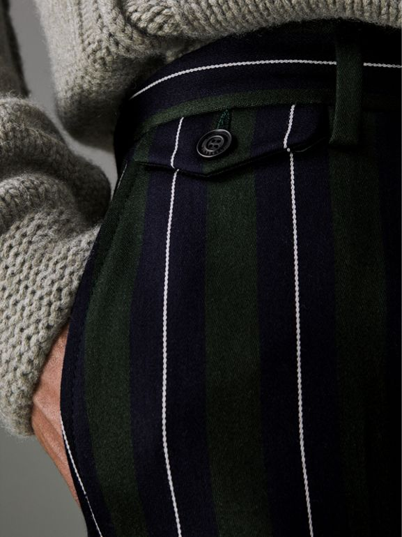 Striped Wool Cotton Tailored Trousers in Dark Forest Green - Men | Burberry Australia - cell image 1