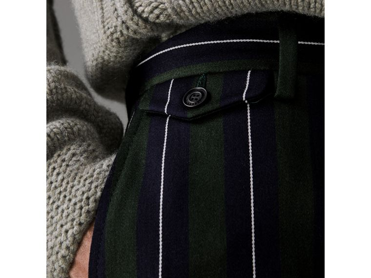 Striped Wool Cotton Tailored Trousers in Dark Forest Green - Men | Burberry - cell image 1