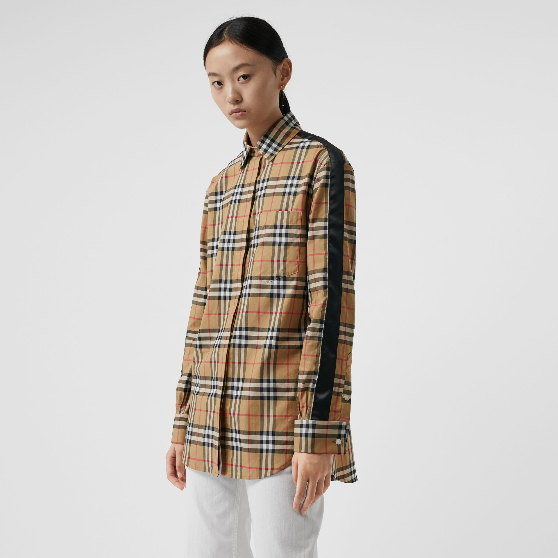 Satin Stripe Vintage Check Shirt in Antique Yellow - Women | Burberry - gallery image 0