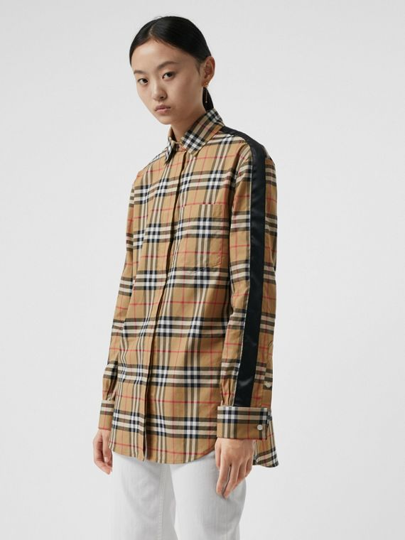 Satin Stripe Vintage Check Shirt in Antique Yellow