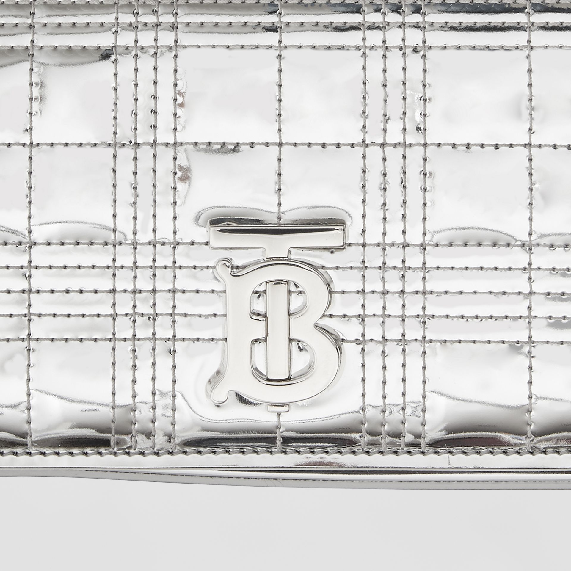 Quilted Metallic Lola Bum Bag with Chain Strap in Silver | Burberry - gallery image 1