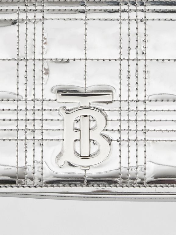 Quilted Metallic Lola Bum Bag with Chain Strap in Silver | Burberry - cell image 1