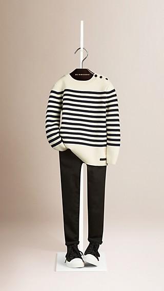 Pull marinière en laine et coton