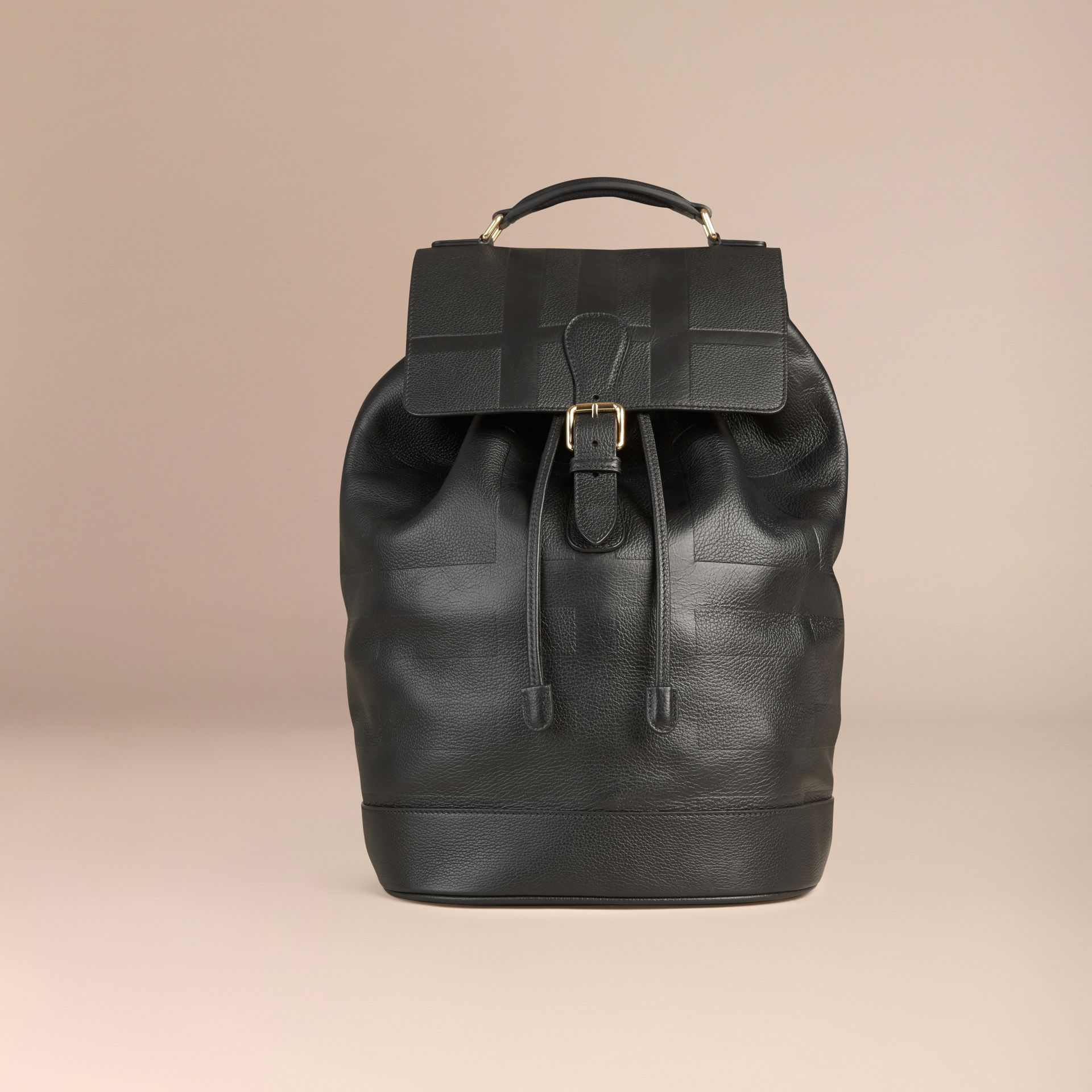 Black Check Embossed Leather Backpack - gallery image 7
