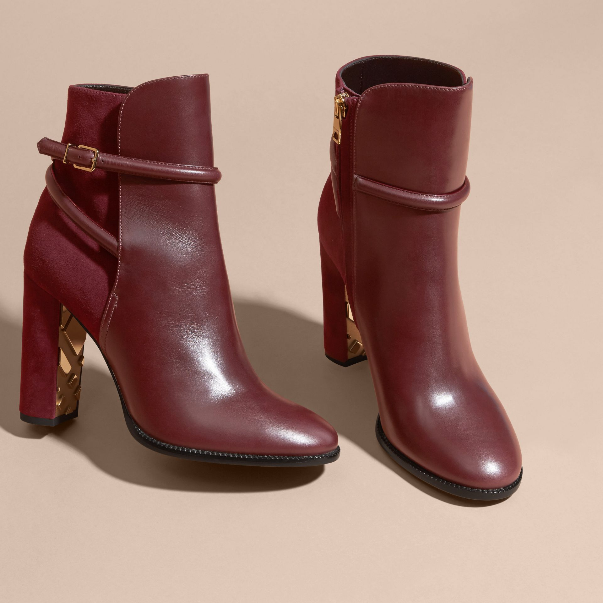 Oxblood Strap Detail Leather and Suede Ankle Boots - gallery image 3
