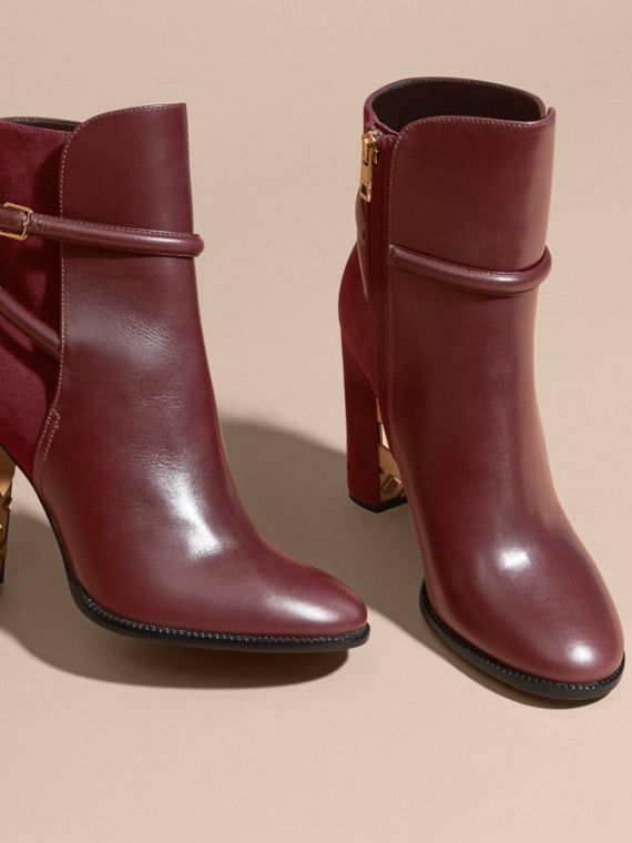 Oxblood Strap Detail Leather and Suede Ankle Boots - cell image 2