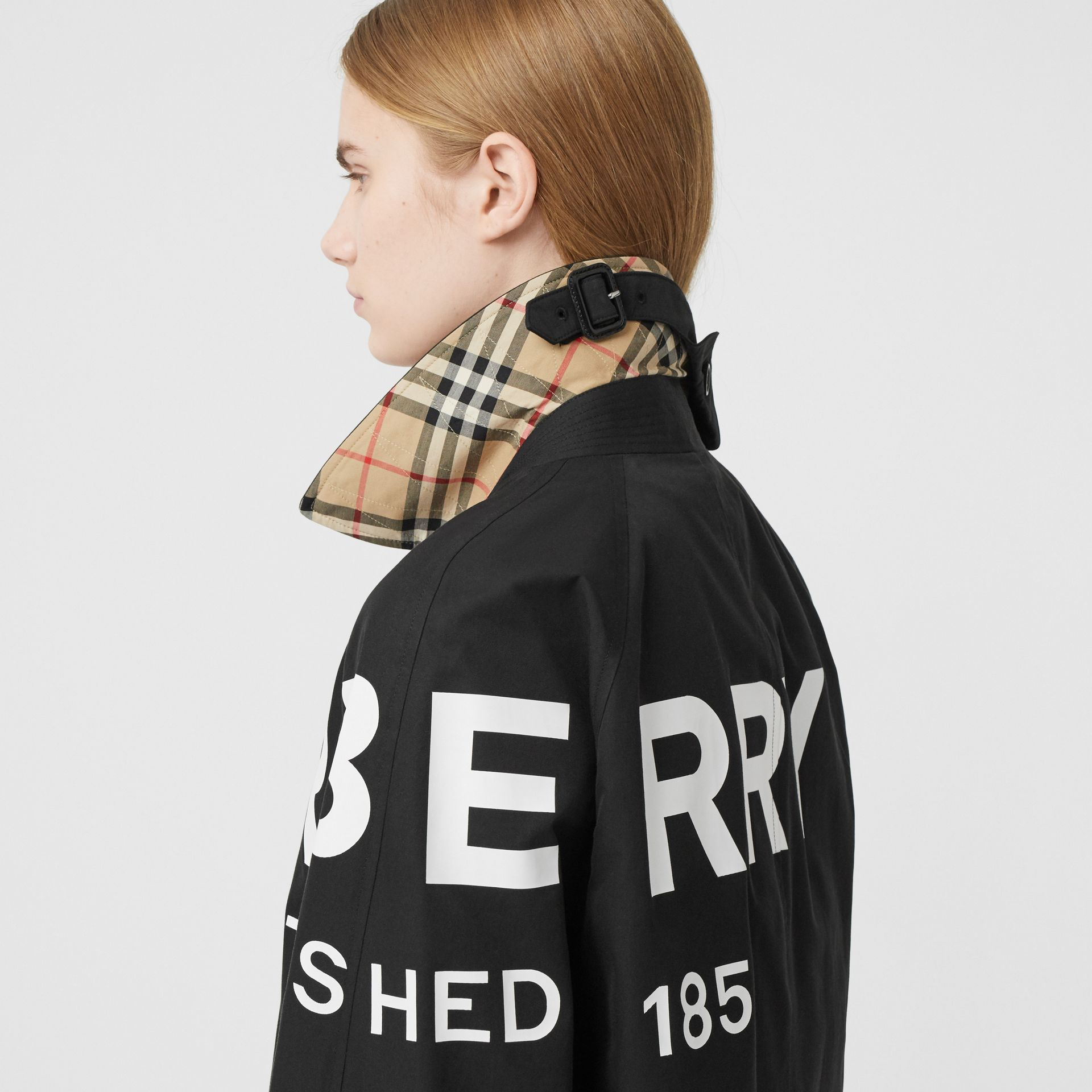 Horseferry Print Cotton Gabardine Car Coat in Black - Women | Burberry Hong Kong S.A.R. - gallery image 4