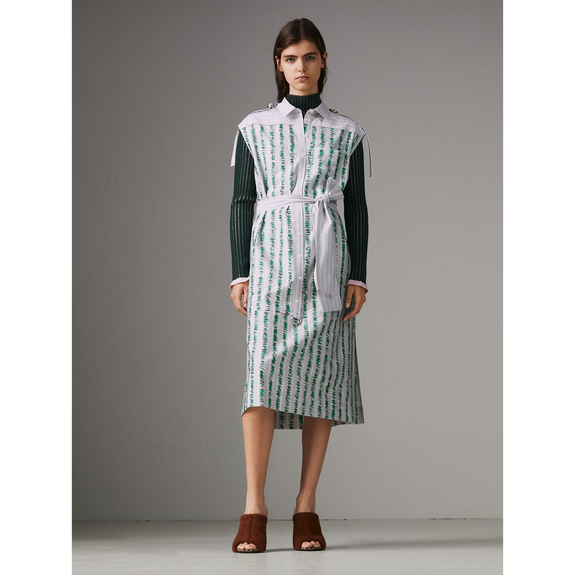Scribble Stripe Cotton Shirt Dress in Bright Navy - Women | Burberry Singapore - gallery image 5