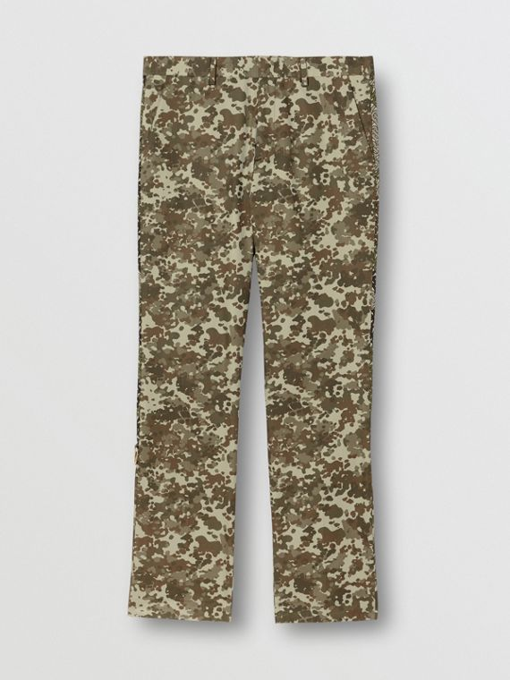 Monogram Print Stripe Detail Cotton Trousers in Khaki Green