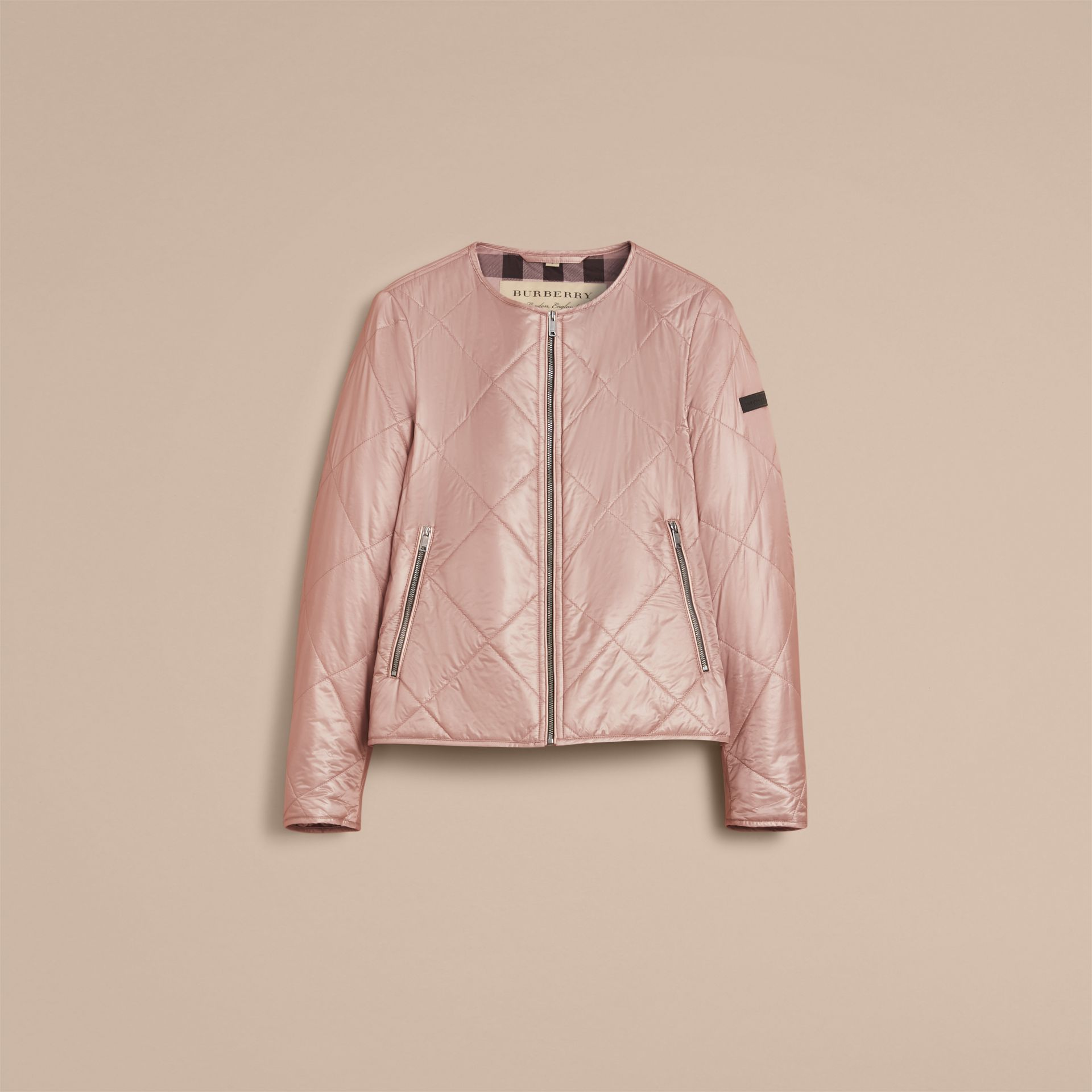 Collarless Diamond Quilted Lightweight Jacket Nude - gallery image 4