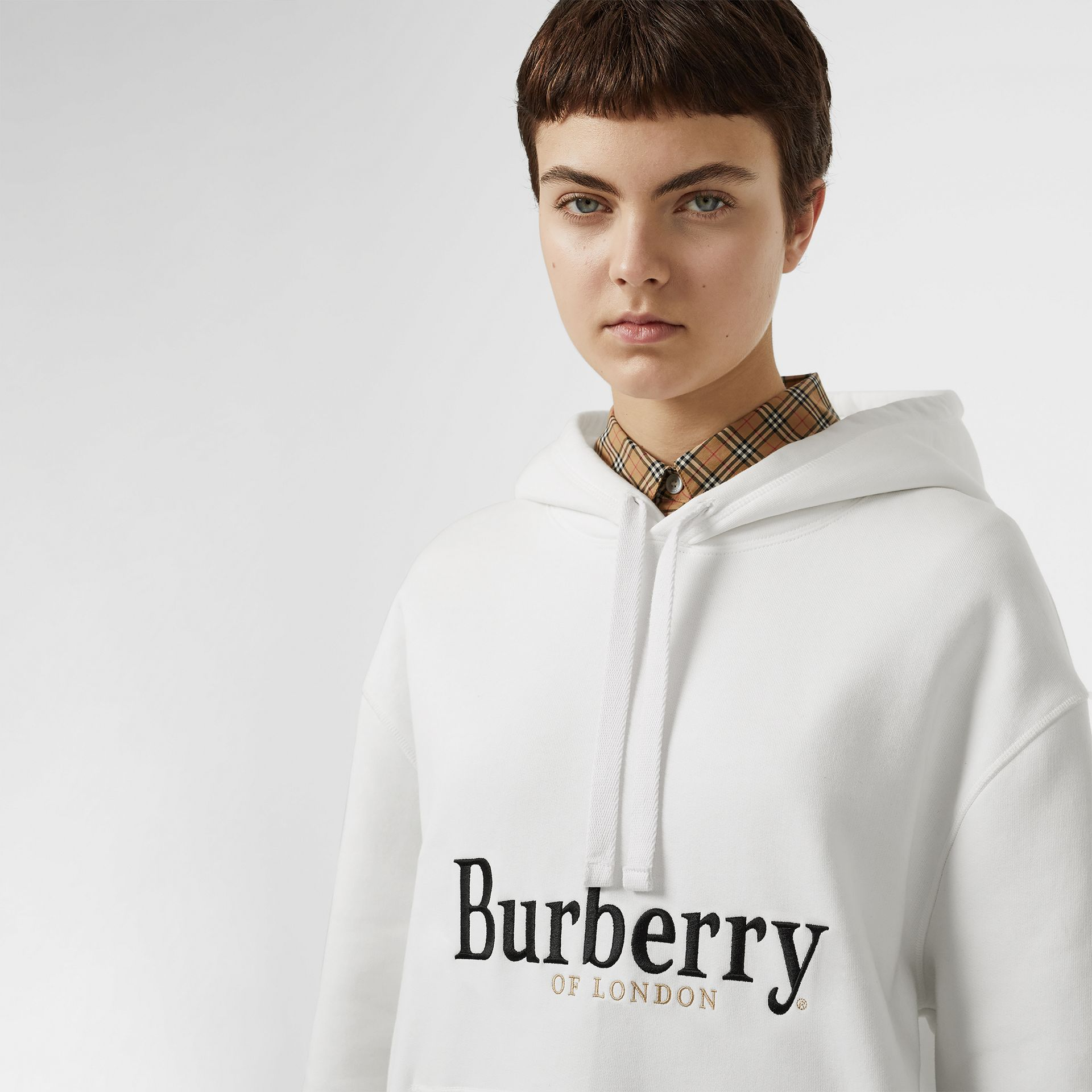 Embroidered Logo Jersey Hoodie in White - Women | Burberry - gallery image 1