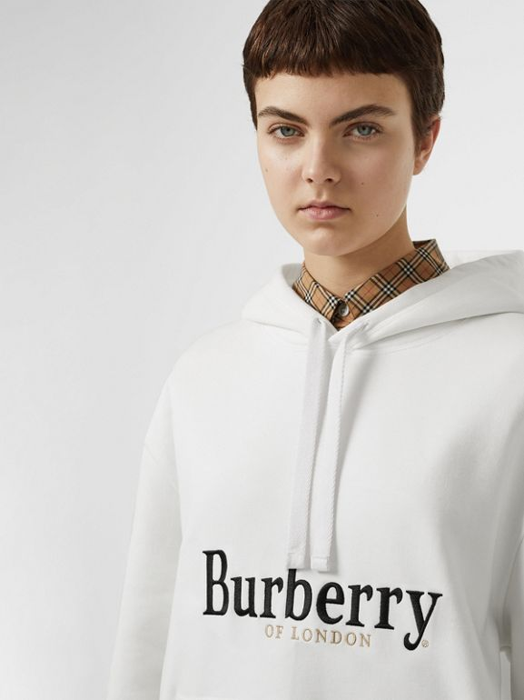 Embroidered Logo Jersey Hoodie in White - Women | Burberry Australia - cell image 1