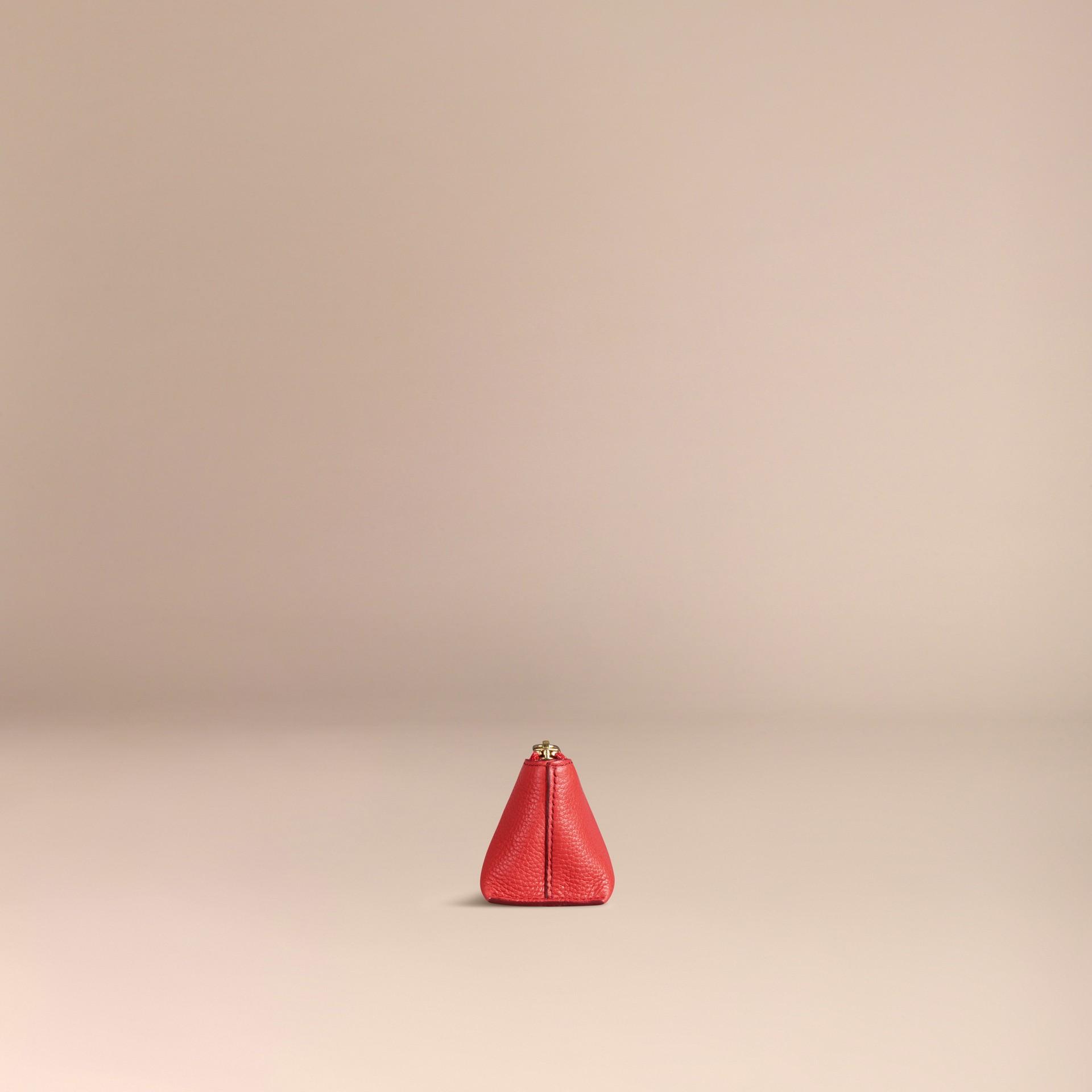 Rouge orangé Petite pochette pour accessoires numériques en cuir grainé Rouge Orangé - photo de la galerie 3