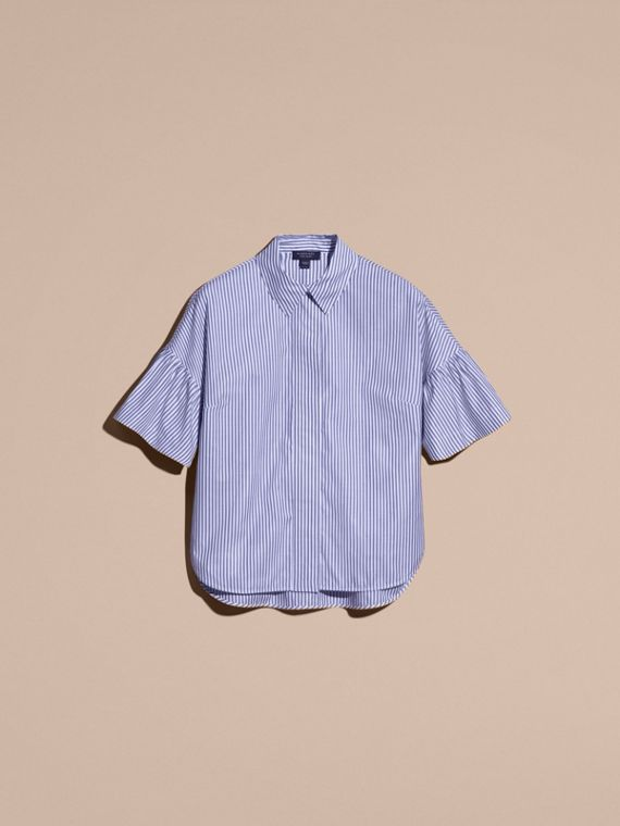 Striped Cotton Shirt with Ruched Sleeves - cell image 3
