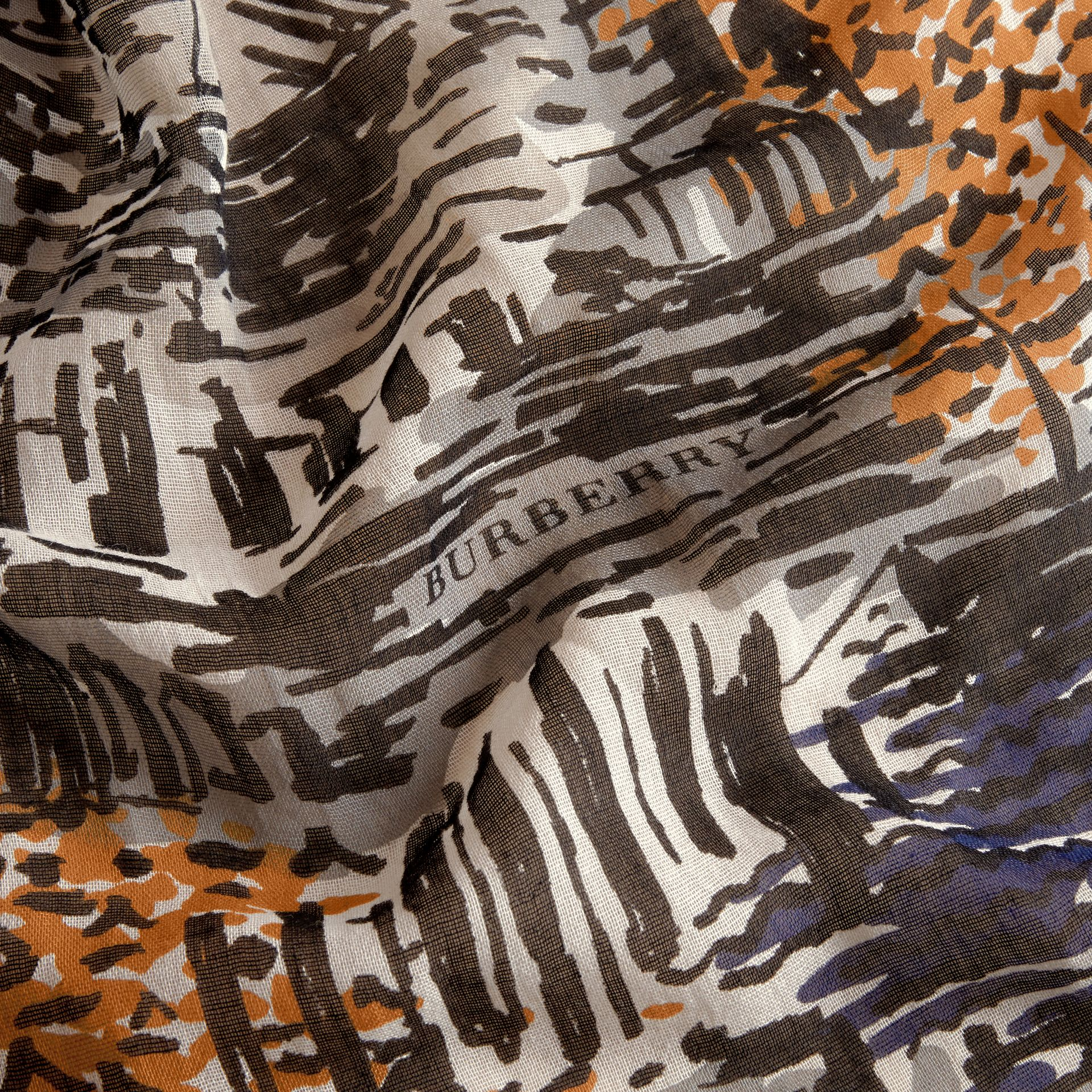 British Seaside Print Cotton Cashmere Scarf in Amber Yellow - gallery image 2
