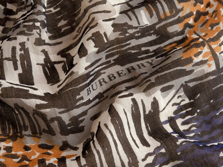 British Seaside Print Cotton Cashmere Scarf Amber Yellow - cell image 1