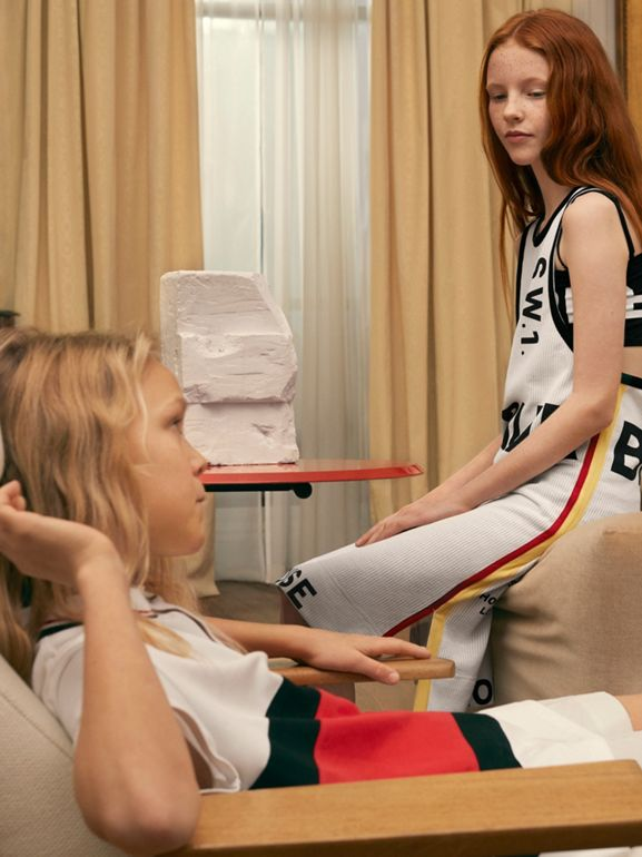 Horseferry Print Mesh Dress in White - Children | Burberry United Kingdom - cell image 1